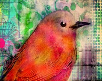 Red Bird Print archival print sun sunset garden Bird flowers mixed media watercolor collage
