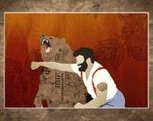 "Bear, Grizzly bear, Man Punchin Bear, Print,  Russian, Man Punching Bear, 18 x 24"", Matte Print"