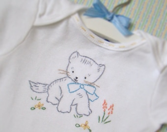 Miss. Kitty Onesie - Hand Embroidered (made to order any size)