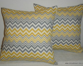 Decorative-Accent-Throw Pillow Covers-Free US Shipping-Set of Two 18 inch Zigzag Yellow, Gray and Off White