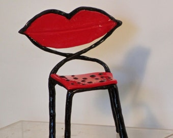 Miniature OOAK Lips chair