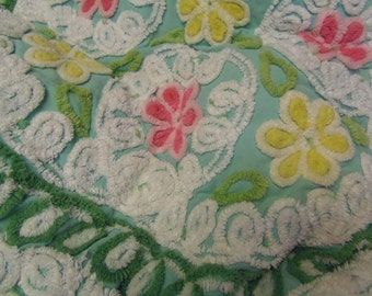 "Cotton Vintage Chenille Bedspread Quilt Eyecandy 50""x56"" Handmade Cozy Snuggle up Cuddley Soft sewbuzyb"
