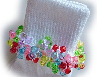 Kathy's Beaded Socks - Sugar and Spice socks, colorful socks, girls socks, rainbow socks, tri bead socks, all sizes socks, clear bead socks
