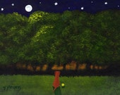 Hungarian Vizsla Dog Outsider Folk Art PRINT Todd Young MOON FOREST