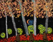Raccoon family Outsider Folk Art PRINT Todd Young painting Up To No Good