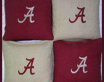 Alabama Cornhole Bags Personalized Crimson and Gray Set of 8 Bags
