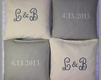 Wedding Cornhole Bags Personalized Set of 8 Cream and Gray