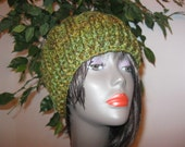 Crocheted Cable Hat-Tweed Green