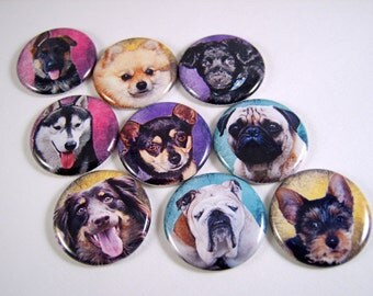 """1"""" Flat Back Button, Dog Cabochons, 12 Count"""