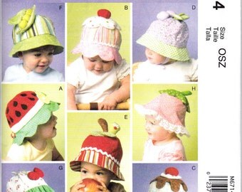McCalls 6714 Childrens Hats Sewing Pattern Watermelon Cupcake Pea Pod New and Uncut