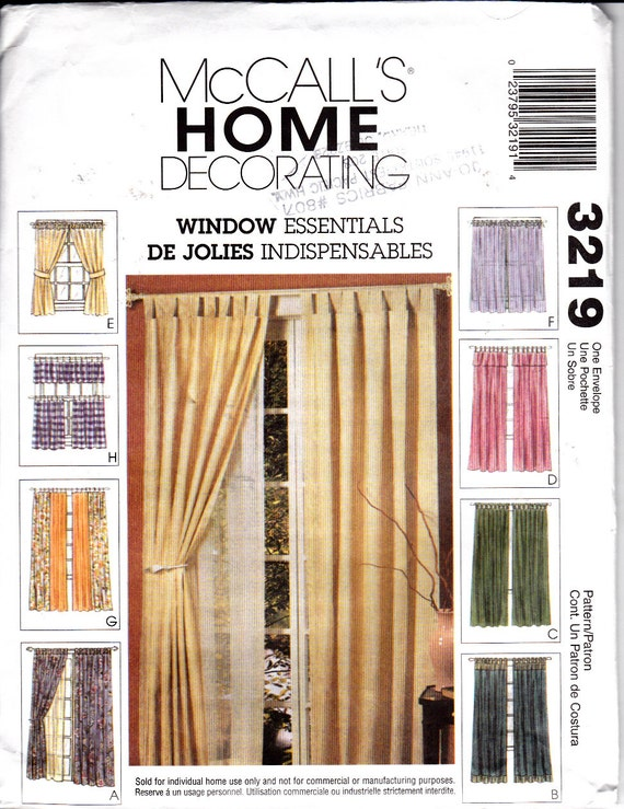 Mccalls 3219 window essentials curtain valance panels sheers cafes tab