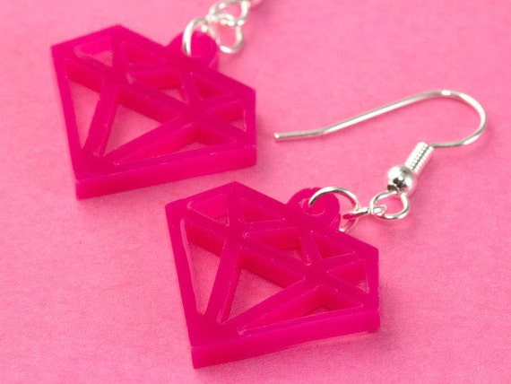 hot pink plastic diamond earrings laser cut by tizzalicious. Black Bedroom Furniture Sets. Home Design Ideas