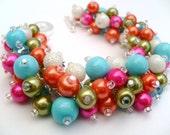 Pearl Beaded Bracelet, Cluster Bracelet, Bright Colours, Pearl Bracelet, Bridesmaid Gift, Beach Wedding, Hot Pink Jewelry, Chunky Bracelet