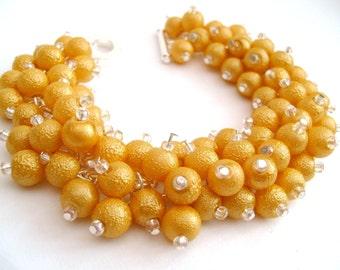Yellow Bridesmaid Jewelry, Yellow Pearl Beaded Bracelet, Cluster Bracelet, Pearl Bracelet, Bridesmaid Gift - Handmade Jewelry By Kim Smith