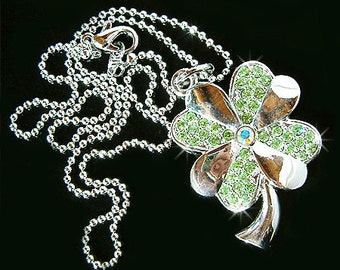 Irish Swarovski Crystal Saint Patrick's Day Lucky Four Leaf CLOVER SHAMROCK Pendant Charm Chain Necklace New Christmas Gift