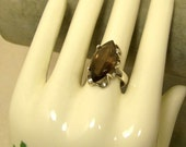 Vintage Signed MEXICO STERLING 925 Smokey Topaz Ring
