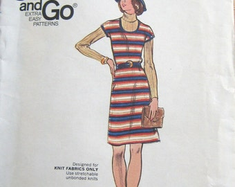 Butterick vintage 70s misses jumper Pullover Dress sewing pattern 14 women easy fast knit fabrics