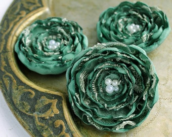3 Big handmade sage green and pale green fabric flowers - home decor, gift wrapping, satin and lace flowers, sew on flower appliques