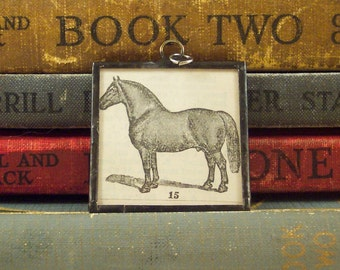 Horse Pendant - Equestrian Charm - Suffolk Stallion Horse Necklace with Vintage Illustration -  Dictionary Pendant - Soldered Glass Charm