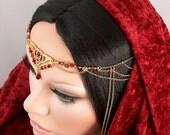 RESERVED for crimsonveil - Agarria - Celtic Fire Princess Swarovski Medieval Elven Circlet/Headpiece