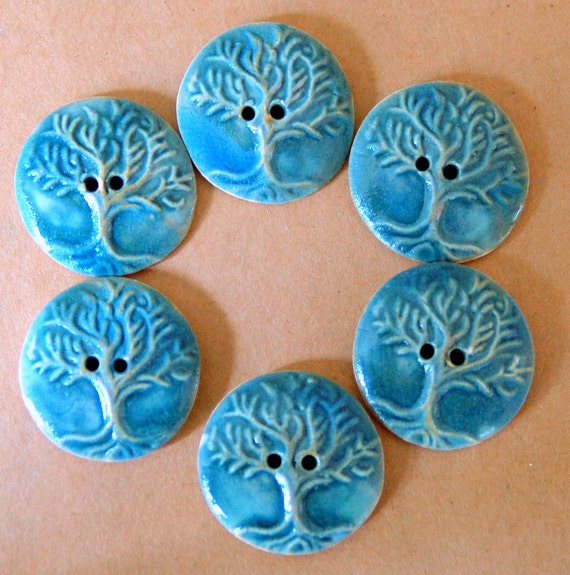 6 Handmade Stoneware Buttons - Tree of Life Buttons in a Sky Blue Gloss