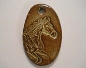 HORSE  handmade pottery clay pendant bead tag