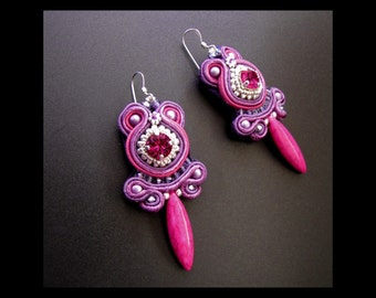 Fuchsia Buds - Soutache Earrings in Purple, Lilac and Dark Pink