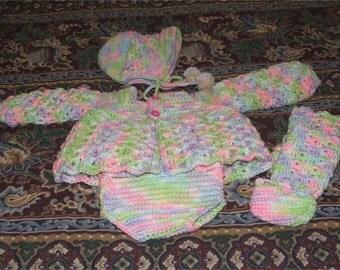 Crochet Pattern-4pc. Infant Sweater Set