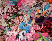 20 Random Handmade Hand Sewn Bows - Hairbow Supplies - For Bow Designers - Use to Design Your Own - Headband Supplies