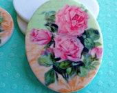 Plastic Cabochons - Two 40x30mm Rose Cabs (3-2F-2)