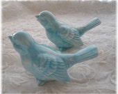 Wedding Cake Vintage Birds Ceramic in Aqua  Wedding Cake toppers Home Decor