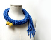 Crochet Statement Necklace - Electric Blue Upcycled Jersey Yarn - Jersey Scarf Cowl - Crochet Jewelry - Textile Necklace - ixela