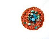 Crocheted  patch applique / Green Rust // adornment sew on gem stones turquoises weather proof