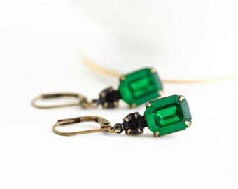 Emerald Green Earrings - Gift For Her - Emerald Green Jewel Earrings - Black and Green Rhinestone Earrings - Emerald Prom Earrings