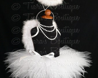 "Angel Tutu Costume w/ Halo - 13"" Tutu, Small Angel Wings, and Halo Headband - For Girls - Valentine's Day"