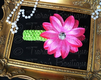 Pink and Green Girls Headband Photo Prop - Hot Pink Lily w/ Rhinestone Center on Lime Headband - Flower Headband Made to Match Your Tutu