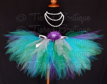 "Mermaid Birthday Tutu, Meramid Tutu, Ocean Themed Tutu, Girls Tutu,  Blue Green Purple Tutu, 11"" Sewn Pixie Tutu sizes up to 5T"