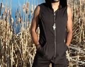 Pacha PLay Pin Stripe Mens Vest with pockets-techno-tribal-ninja-psytrance-steampunk-burning man-festival-urban jedi