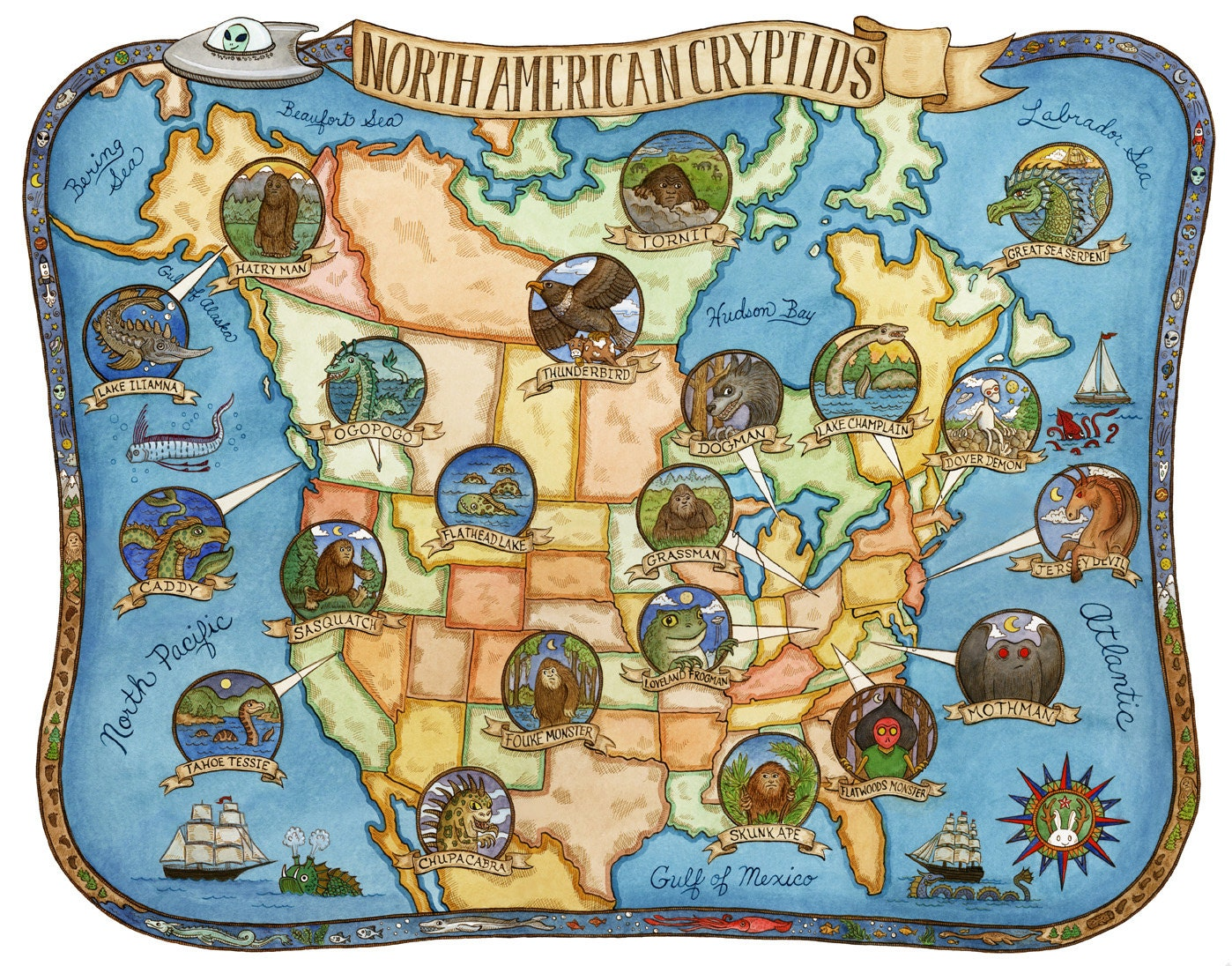 cryptids of north america map art print 11 x14