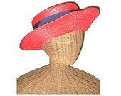 Vintage Red Straw Hat Fra...