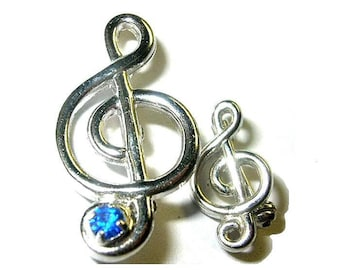 Vintage Treble Clef Scatter Pins 1 With Blue Rhinestone