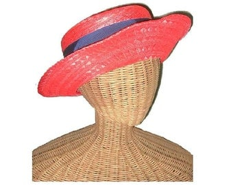 Vintage Red Straw Hat Frank Olive for Saks Fifth Avenue ca 1950s