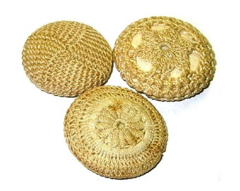 Antique Victorian Buttons Crocheted Knotted Ivory Cream Color NBS Medium