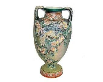 Antique Japanese Moriage Two Handled Wall Vase ca 1930s