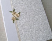 Wedding Photo Album, White Floral with Ivory Handstitched Beaded Daisies,