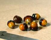 7 Handmade Glass Acorn Beads CLEARANCE