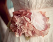 Tea Stained Fabric Flower Wedding Dress Sash, Bridal Sash, Woodland Wedding, Vintage Wedding - AutumnandGraceBridal