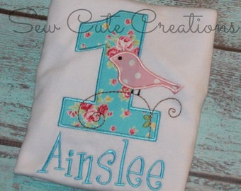 Bird Birthday shirt, Bird Shirt, First Birthday shirt, 1st birthday shirt, Bird on Branch shirt, girl birthday shirt, sew cute creations
