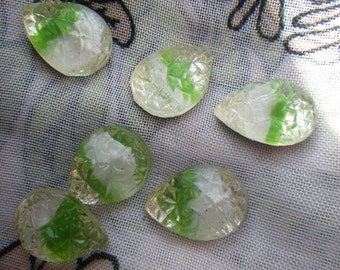 Vintage White and Peridot Green Givre 15x11mm Pear Sugar Stone Foiled Doublets 6 Pcs