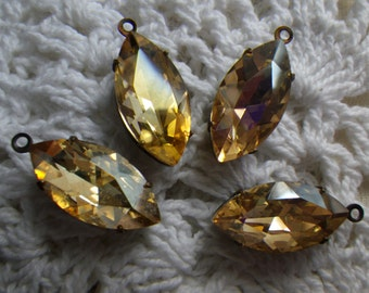 Crystal Golden Shadow 18X9mm Navette Glass Drops 4 Pcs